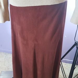 Burgundy polyester suede cloth maxi skirt